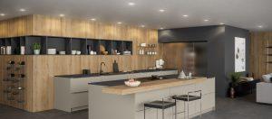 Une cuisine moderne ouverte, avec un grand ilot central