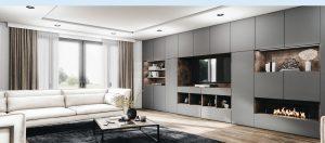 Grand meuble tv avec rangements et niches décoratives