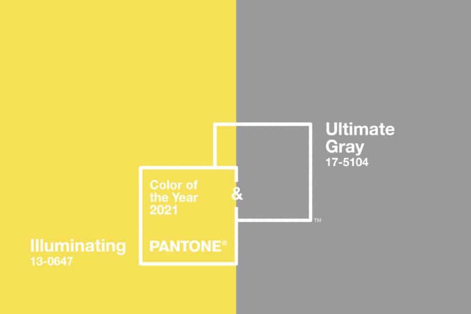 Pantone Illuminating et Pantone Ultimate Gray